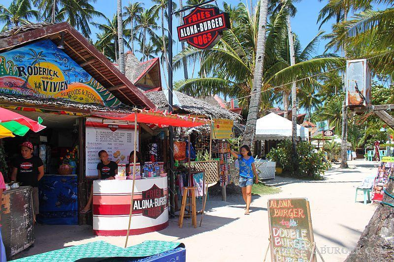 Alona burger on alona beach, panglao island, bohol philippines