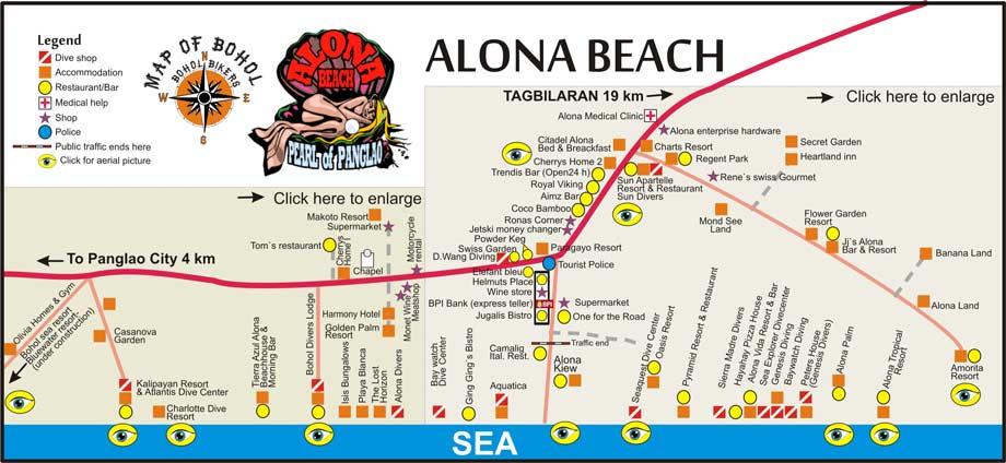 Map of alona beach panglao bohol courtesy of boholbikers com